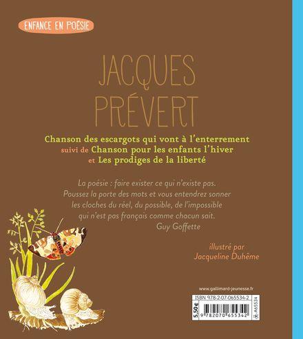 Chanson des escargots qui vont à l'enterrement suivi de Chanson pour les enfants l'hiver et de Les Prodiges de la liberté - Jacqueline Duhême, Jacques Prévert